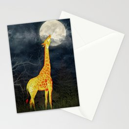 What the moon tastes like? (Giraffe and Moon) Stationery Cards