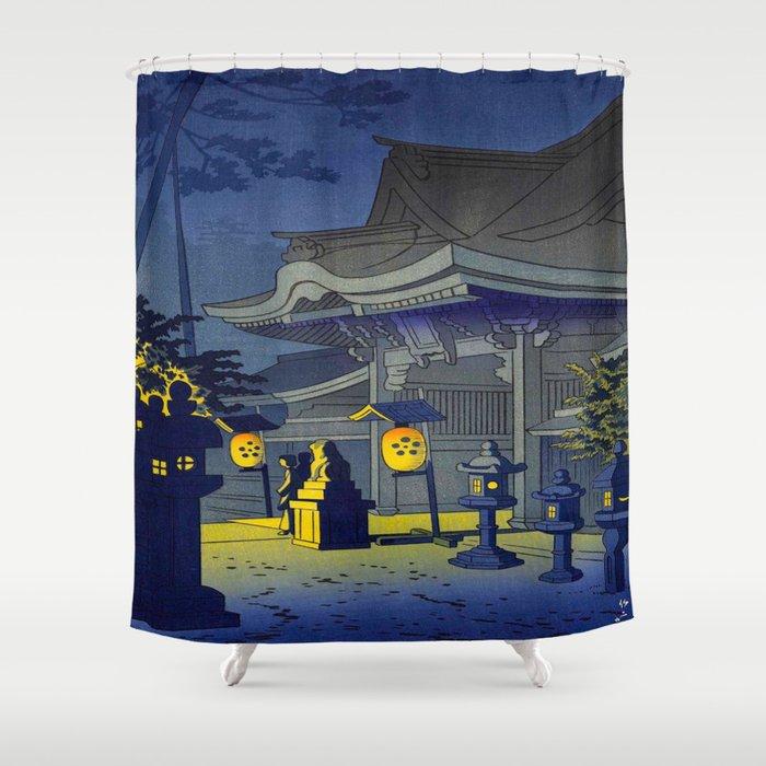 Japanese Woodblock Print Vintage Asian Art Colorful Woodblock Prints Shrine At Night Lantern Shower Curtain