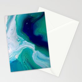 Abstract Mable Colorful Blue Turquoise Fluid Acrylic Painting Design Stationery Cards