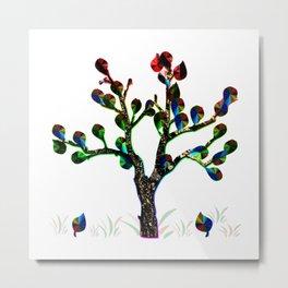 Bare Leafy Rainbow Tree Metal Print