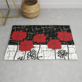 Applique Poppies on black and white background . Rug