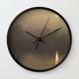 Impressionist Landscape Winter River with Fog and Sun Wall Clock