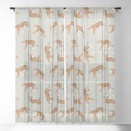 Tiger Trendy Flat Graphic Design Sheer Curtain