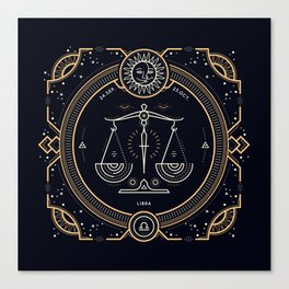 Libra Zodiac Golden White on Black Background Canvas Print