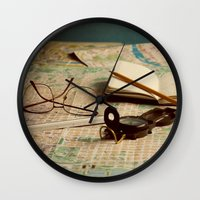 maps Wall Clocks featuring Maps by Sciuridae