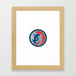 Angry Wolf Wild Dog Head Circle Retro Framed Art Print