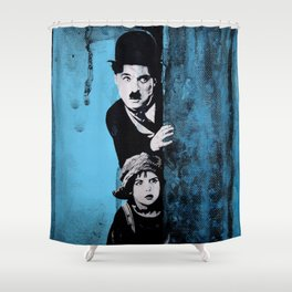 KINO - Chaplin and the kid Shower Curtain