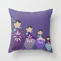 russian Throw Pillows featuring RUSSIAN DOLLS by Monika Strigel