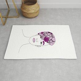 Flower Girl Line Art Woman Portrait Rug