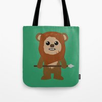 ewok Tote Bags featuring Ewok forever by Bonitismo