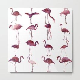Summer Flamingos Pink Metal Print