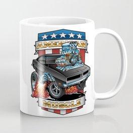American Muscle Patriotic Classic Muscle Car Cartoon Illustration Coffee Mug