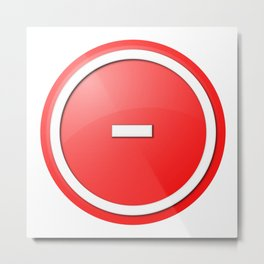 Red  Button Minus Metal Print