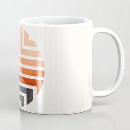 Burnt Sienna Circle Round Framed Mid Century Modern Aztec Geometric Pattern Maze Coffee Mug