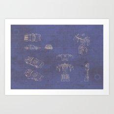 Transformer Blueprints Art Print