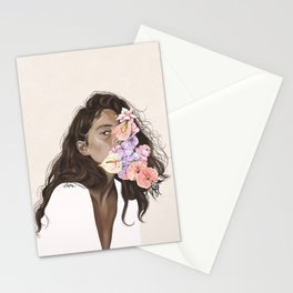 The girl with the flowers | Pastel spring vibes | Soft art print Stationery Cards