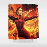 mockingjay Shower Curtains featuring The Mockingjay by EcaJT