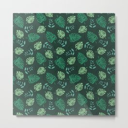 Sweet jungle palm leaves and monstera garden botanical print green Metal Print
