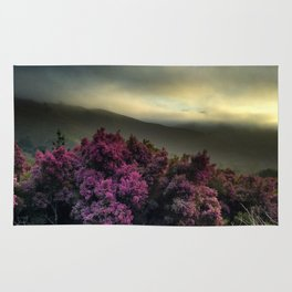 Pink Flowers with Fog Rug
