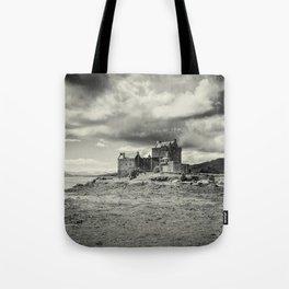 Eilean Donan Castle in Mono Tote Bag