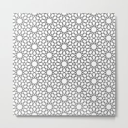 Beautiful Pattern #30 Arabic Geometry Black over White  Metal Print
