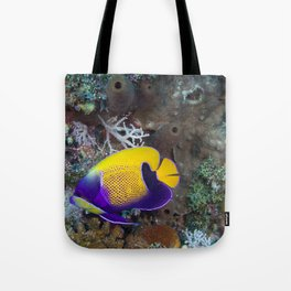 Yellow and purple damsel fish Tote Bag