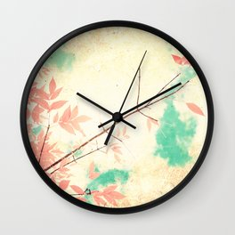 Textured Fall (Vintge Fall pink - orange leafs on textured clouds and blue sky) Wall Clock