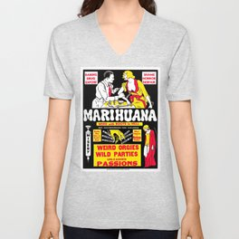 Marijuana Poster (Reefer Madness) Unisex V-Neck