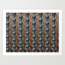 Skulls and Poppies - Red, Blue, Green - Halloween Vintage Theme Art Print