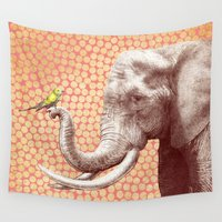 eric fan Wall Tapestries featuring New Friends 2 by Eric Fan and Garima Dhawan by Eric Fan