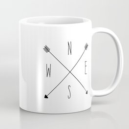 Compass - North South East West - White Coffee Mug