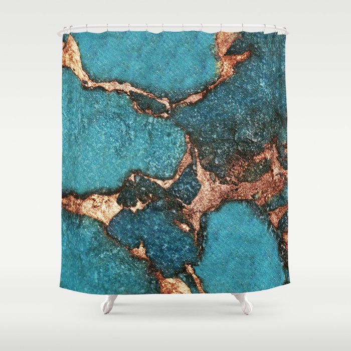 GEMSTONE  & GOLD AQUA Shower Curtain