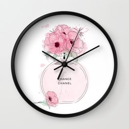 Round Pink Perfume with Flowers Wall Clock