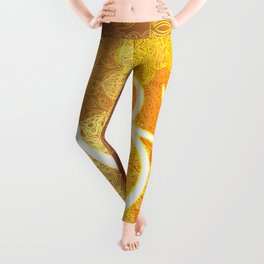 Indian ornament pattern with ohm symbol Leggings