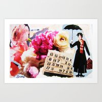 mary poppins Art Prints featuring Mary Poppins by Patti Friday