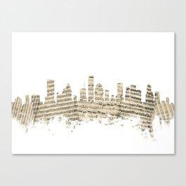 Houston Texas Skyline Sheet Music Cityscape Canvas Print