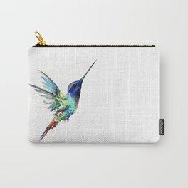 Flying Hummingbird flying bird, turquoise blue elegant bird minimalist design Carry-All Pouch