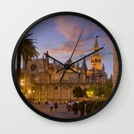 Seville, The Cathedral at dusk Wall Clock