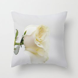 White Rose with Unfolding Petals Photograph Throw Pillow