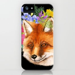 Red Fox with Flowers iPhone Case