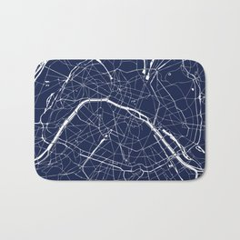 Paris France Minimal Street Map - Navy Blue and White Reverse Bath Mat