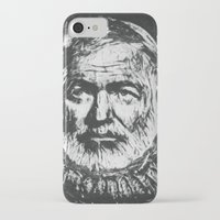 hemingway iPhone & iPod Cases featuring Ernest Hemingway portrait by Psychedelic Astronaut