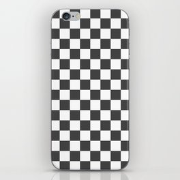 Gingham Dark Slate Grey Checked Pattern iPhone Skin