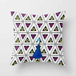 Peacock in pattern Throw Pillow