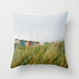 Sea Grass and Beach huts, Amble, Northumberland, England. Throw Pillow