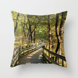 Boardwalk Path Towards Fall Throw Pillow