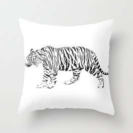 Tiger - black and white vector Throw Pillow