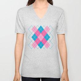 Pink-Blue Argyle Design Unisex V-Neck