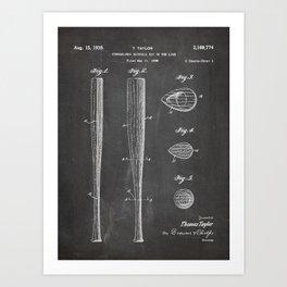 Baseball Bat Patent - Baseball Art - Black Chalkboard Art Print