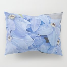 Blue Clematis Flowers on Knotted Fence Post Pillow Sham